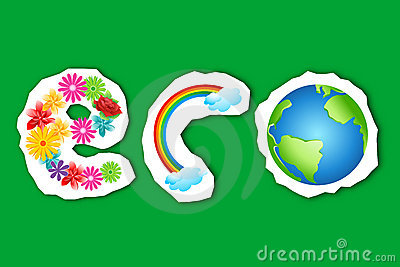 Eco text in flower, rainbow and globe