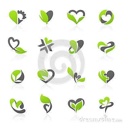 Free Eco-themed Vector Logo Template Set Royalty Free Stock Photography - 26678297