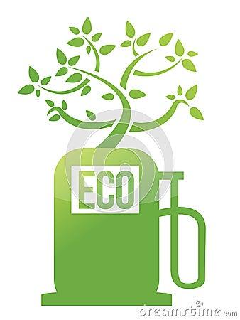 Eco tree gas pump illustration design