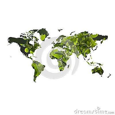 Eco vriendschappelijk concept met kaart van de wereld