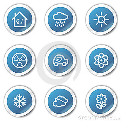 Eco web icons set 2, blue sticker series