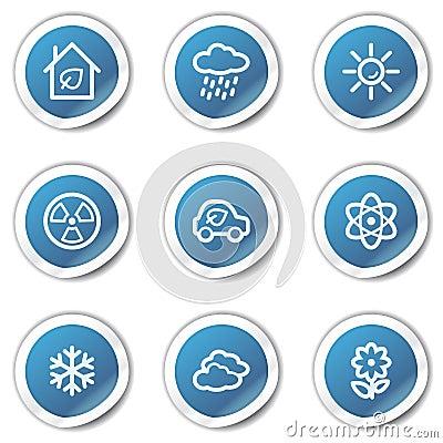 Eco web icons set 2, blue sticker series