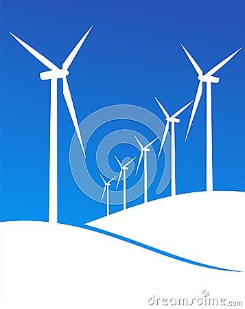 Free Eco Windmills Illustration Royalty Free Stock Photos - 16977368