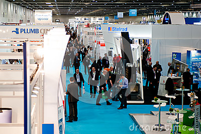 Visitors during a crowded and successful exhibitio Editorial Photography