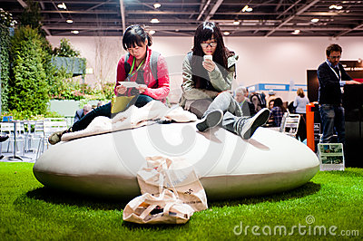 A moment of relax during a sustainability fair Editorial Photo