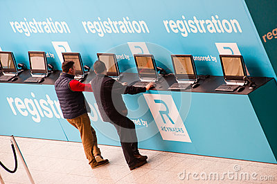 Visitor register at registration desk Editorial Stock Image