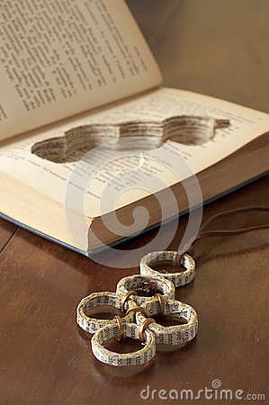 Ecojewelry literary necklace from old books