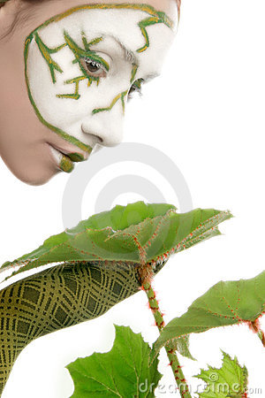 Ecologic concept woman with green plant