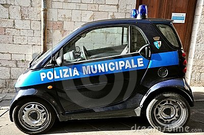 Ecologic police car in Italy Editorial Photo