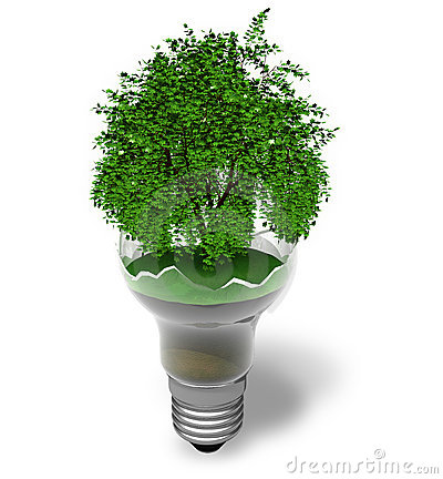 Ecological concept: green tree in a broken lamp