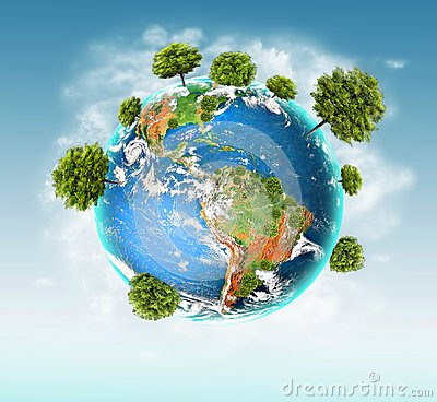 Free Ecological Concept Of The Environment With The Cultivation Of Trees . Planet Earth. Physical Globe Of The Earth Royalty Free Stock Image - 114345586