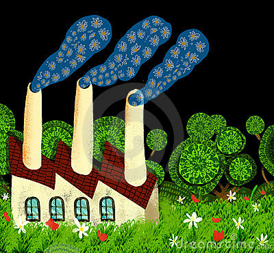 Ecological factory expels smoke of flowers