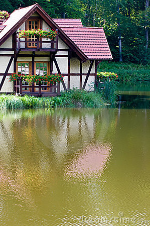 Ecological house on lake