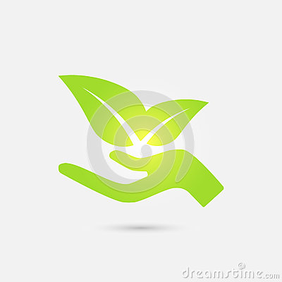 Free Ecological Icon. Human Hand Growing Green Leaves. Stock Photography - 90377182