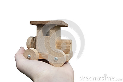 Ecological wooden car in hand