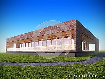 Ecologisch modern houten huis stock afbeeldingen afbeelding 19528294 for Afbeelding van moderne huizen