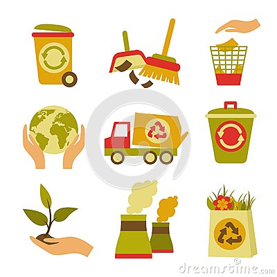 Free Ecology And Waste Icon Set Royalty Free Stock Image - 42436066