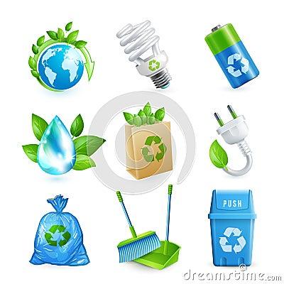 Free Ecology And Waste Icon Set Stock Images - 46201484
