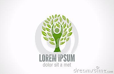 Ecology concept. Eco Green Tree logo template.