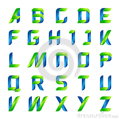 Free Ecology English Alphabet Letters Green And Blue Stock Images - 61561404