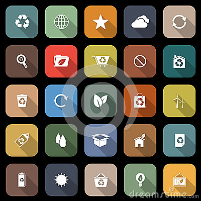 Ecology flat icons with long shadow