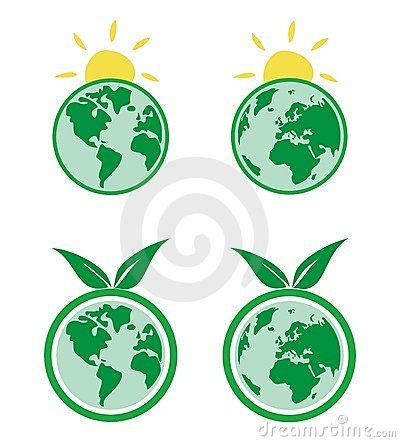 Ecology icons with planet Earth