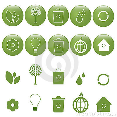 Ecology icons set - vector
