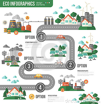 Free Ecology Infographics With Town Road Royalty Free Stock Photos - 69054688