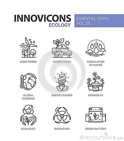 Ecology - modern color vector single line icon set Vector Illustration