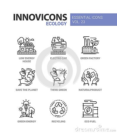 Ecology - modern color vector single line icons set Vector Illustration