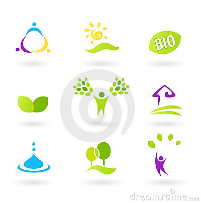 Ecology & people nature friendly BIO icons set