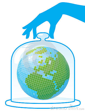 Ecology. Planet Earth is under a protective cap.