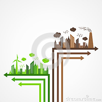 Ecology and pollution concept with arrow