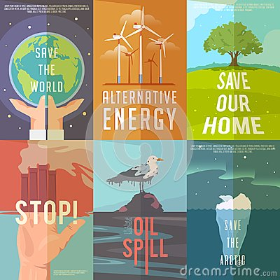 Ecology posters Vector Illustration