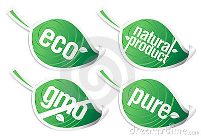 Ecology Product Stickers, GMO Free. Royalty Free Stock Image - Image: 14739656