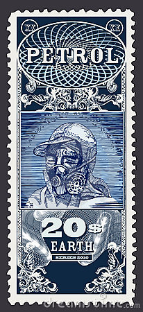 Ecology stamp. Petrol, human head with gas mask.