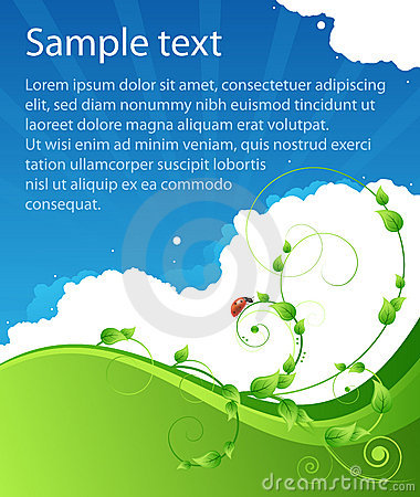 Free Ecology Summer Poster With Patterns And Ladybird Royalty Free Stock Photography - 13273457