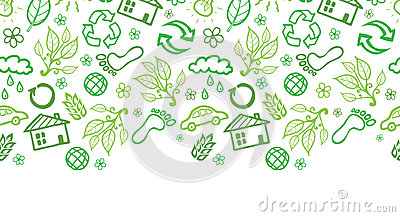 Ecology symbols horizontal seamless pattern