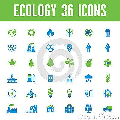 Free Ecology Vector Icons Set - Creative Illustration On Energy Theme Royalty Free Stock Photo - 44420435