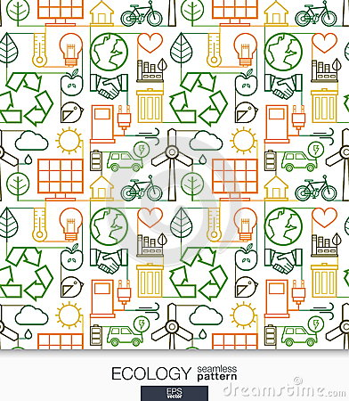 Ecology Wallpaper. Green Energy Connected Seamless Pattern ...