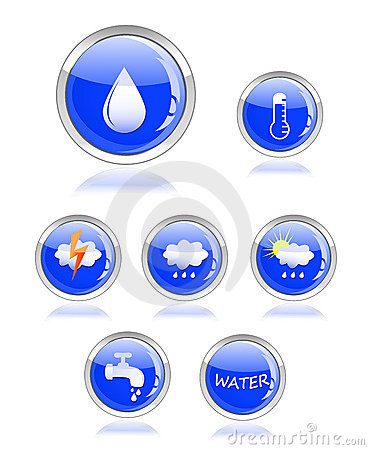 Ecology water and drop glossy icon button