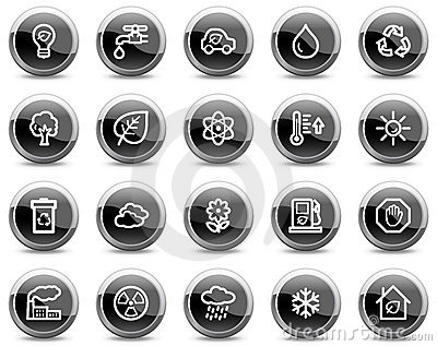 Ecology web icons, black glossy circle buttons