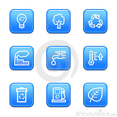 Ecology web icons blue buttons