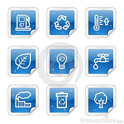 Ecology web icons, blue glossy sticker series
