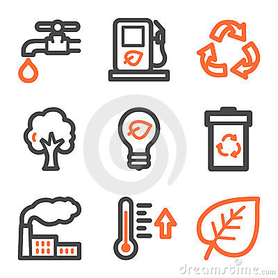 Ecology web icons, orange and gray contour series