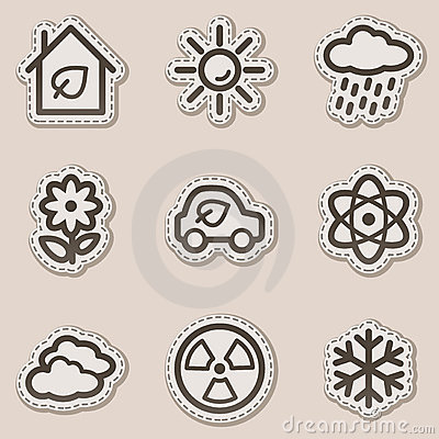 Ecology web icons set 2, brown contour sticker