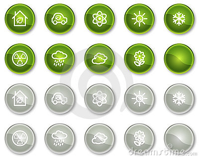 Ecology web icons set 2, circle buttons series