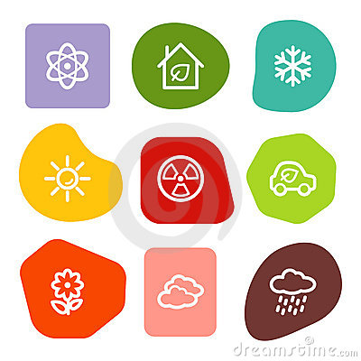 Ecology Web Icons Set 2, Colour Spots Series Royalty Free Stock Photo - Image: 10306895