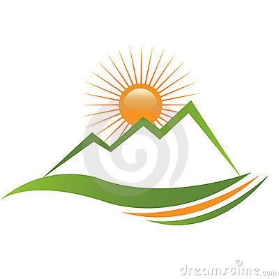 Ecologycal Sun And Mountain Logo Stock Images - Image: 23372074