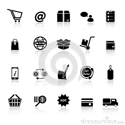 Ecommerce icons with reflect on white background
